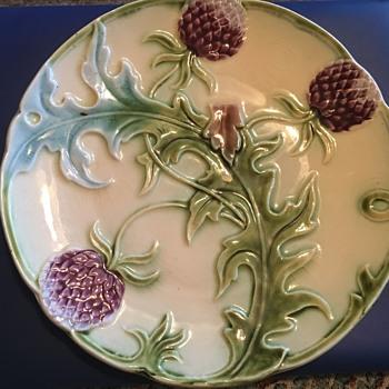 Majolica Artichoke/Purple Thistle Plate - Pottery