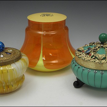 "Three Bohemian ""Powder"" Jars - Art Glass"