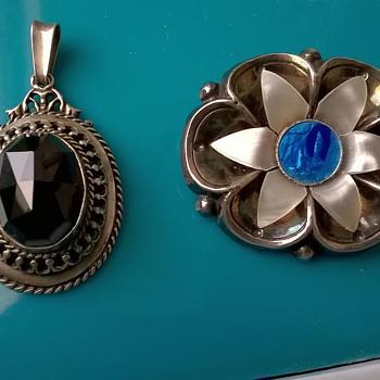 .835 Silver & Garnet Pendant, 1950s & Unusual Silver Plated 1930s Lourdes Brooch - Fine Jewelry