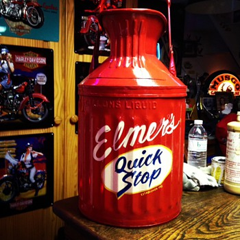 Restored Five Gallon Oil & Water Cans...Pinstriped & Lettered  By Jeff Stewart - Petroliana
