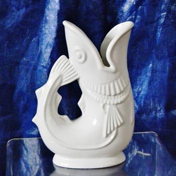 Original Shreve Crump & Low Gurgling White Cod Fish Pitcher  - Figurines