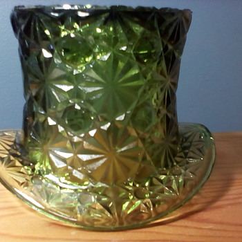 Green Pressed Glass Top Hat For Scotty - Glassware