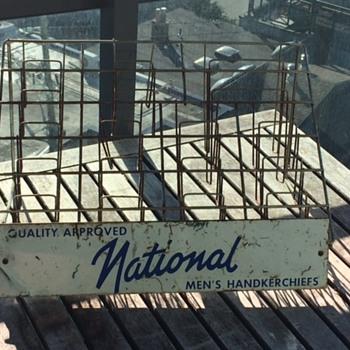 Vintage NATIONAL men's HANDKERCHIEFS display rack.