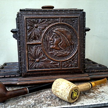German Black Forest Tobacco Humidor Pipe Rack / Hand Carved Wood Renaissance Design / Unknown Age  - Tobacciana