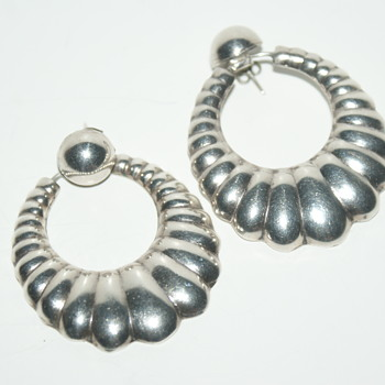 Large Unmarked Earrings - Mexico? - Fine Jewelry