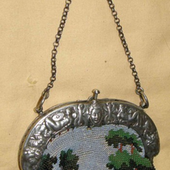 Civil War Time glass beads embroidered Purse - Bags