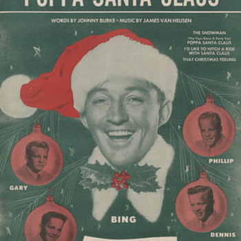 "sheet Music ""POPPA SANTA CLAUS""  BING & HIS SONS==CUTE COVER - Christmas"