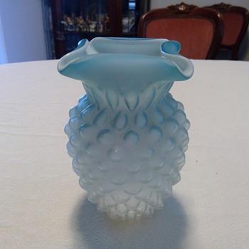 Victorian Air Trap Blue Satin Vase - Art Glass