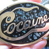 Bad A** Cocaine Mosaic Style Belt Buckle w/ Turquoise Inlay