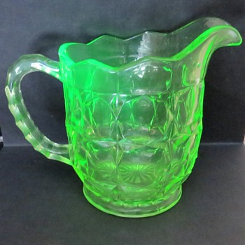 Sowerby Uranium Glass Pitcher - Oxford Suite Pattern - Glassware