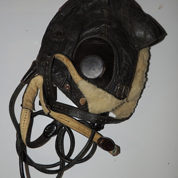 German Aviator Helmet with Chin Strap and Throat Microphone - Sieman's - Military and Wartime