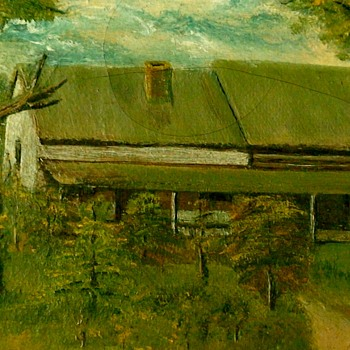 Oil Painting Of A Log House - Fine Art