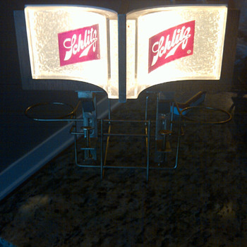 VINTAGE SCHLITZ BEER ADVERTISING NAPKIN HOLDER/SIGN/LIGHT - Breweriana