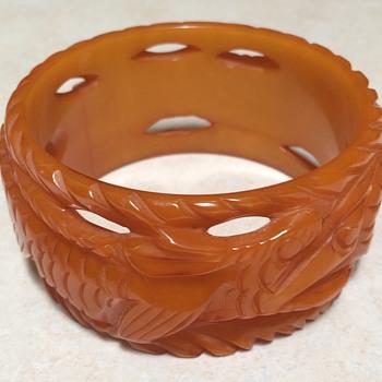 Carved Bakelite Double Dragon Bangle Bracelet - Costume Jewelry