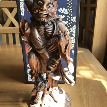 Asian? Wood carved warrior with bat? - Asian