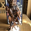 Asian? Wood carved warrior with bat?