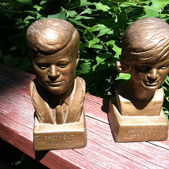 Vintage Antique John F. & Jackie Kennedy Bookends - Books