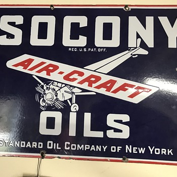 Socony oils air craft porcelian sign  - Petroliana