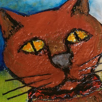 Cat - Encaustic Art  - Fine Art