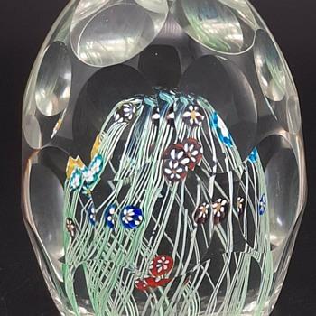"""Murano Paperweight - Latticino - Milefiori - Thumbprint - 4"""" - Art Glass"""