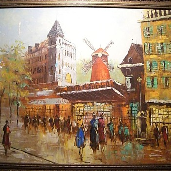 Paris Street Scene - Moulin Rouge - Oil Painting. - Fine Art