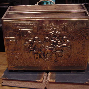 Brass & Wood Magazine Box - Victorian Era