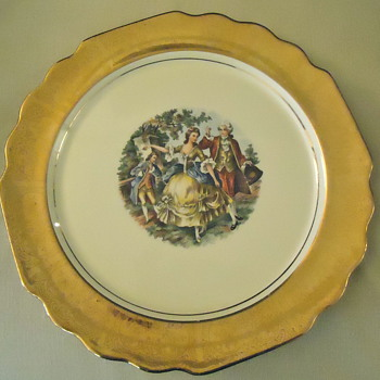 """""""Colonial Couple"""" W. S. George Canarytone Lido Dinner Plate - China and Dinnerware"""