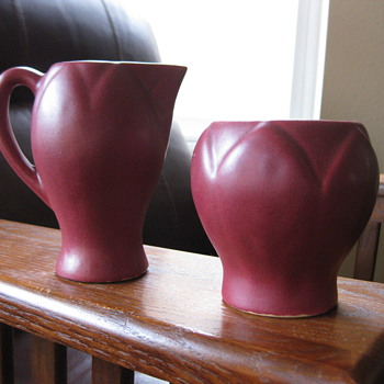 Unmarked Van Briggle Creamer Set - Pottery