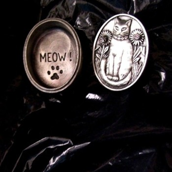 CAT JEWELRY, BAR PIN & CZ EARRINGS--ALL IN ONE, Polished Pewter. - Fine Jewelry