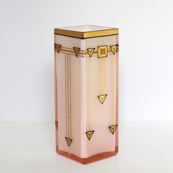 Josef Riedel, Polaun - Pink and White Secessionist Style Vase - Art Glass