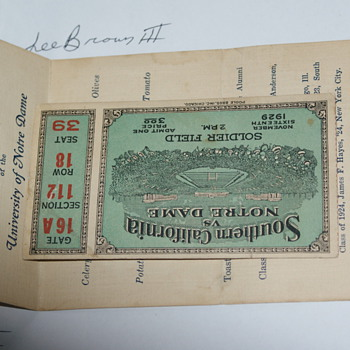 1929 ND vs. USC Ticket on Soldier Field w/ 3 autos on back & 1929 alumni/banquet. - Football