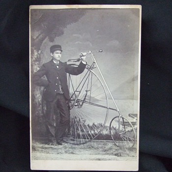 Cabinet card of man with High Wheeled bicycle