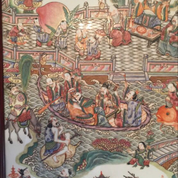 Large Antique Chinese Porcelain Wall Plaque - Asian