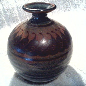 Mark Nafziger Stoneware Vase / Earth Tone Salt Glaze / Circa 1980's - Pottery