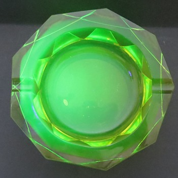 Large Chunky Uranium Glass Ashtray
