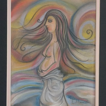 MUNCH Signed Abstract Nude Pastel on Paper  - Fine Art