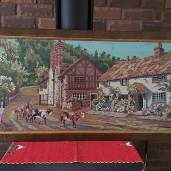 Massive vintage cross stitch of country scene - Sewing