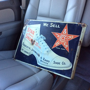 "Original Double Sided Flange Sign ""Star Brand Shoes"" made by Chas. W. Shock Co. Litho. Chicago - Advertising"