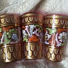Moser Cranberry Fish Scale Acanthus Scroll 1885 Glasses