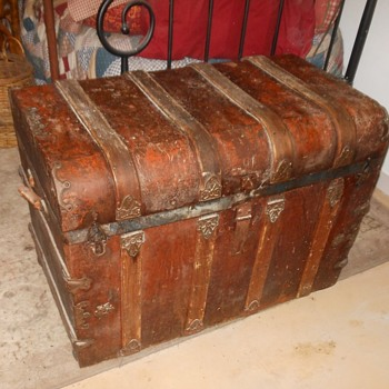 Antique Trunk Red Metal Finish - Furniture