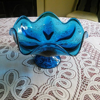 Viking Glass Blue Compote Candy Dish