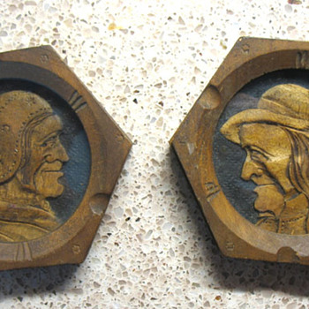 Odd Wood Carved/Relief Elderly Couple in Hexagon Shaped Picture Frames - Folk Art
