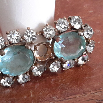 1950s hand cut blue glass ?brooch - Costume Jewelry