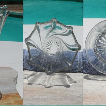 Vintage Dugan Spiralex Clear Glass Vase - Art Glass