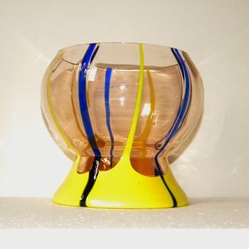 Art Deco Kralik Yellow Blue Applied Striped Uranium Bowl - Art Glass