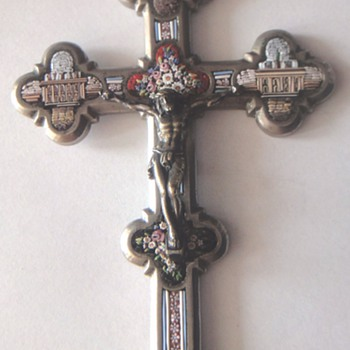 Latin Cross with Micro Mosaic and buildings.  - Fine Jewelry