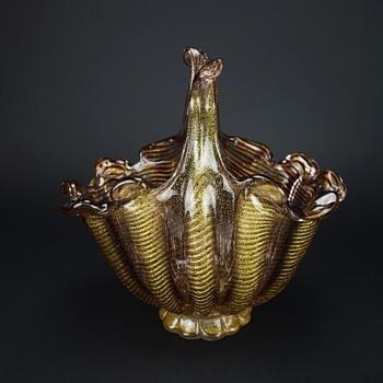 Barovier & Toso Cordonato d' Oro Zebrati Basket Vase - Art Glass