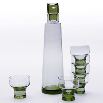 CHRISTER decanter and glasses, Christer Holmgren (Holmegaard, 1963). - Art Glass