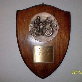 1930's - 1940's AMA Harley Indian Motorcycle Trophy Plaque - Motorcycles