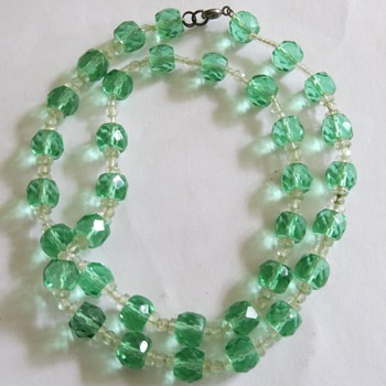 Uranium glass bead Necklace - Costume Jewelry